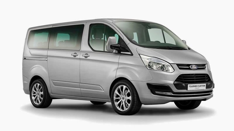 Ford Tourneo Custom Titanium 9 Seat People Carrier for hire | County Car & Van Rental