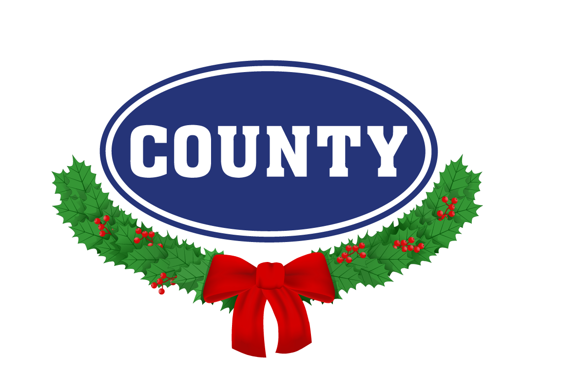 County Oval with Christmas Garland